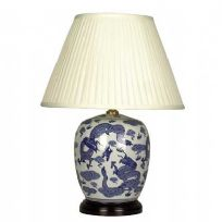 Round Jar Lamp in blue and white dragon design